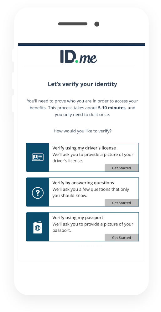 Verify your identity using your driver's license, passport, and/or by answering